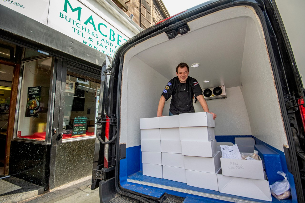 Jock Gibson loads up his van at Macbeth's for local deliveries, which have boomed since the lockdown. Pic: Marc Hindley