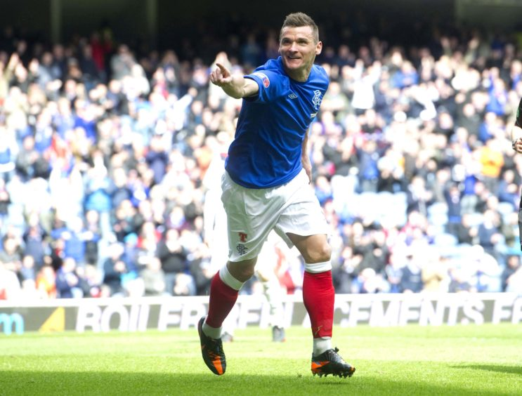 Rangers star Lee McCulloch celebrates opening the score for his side.