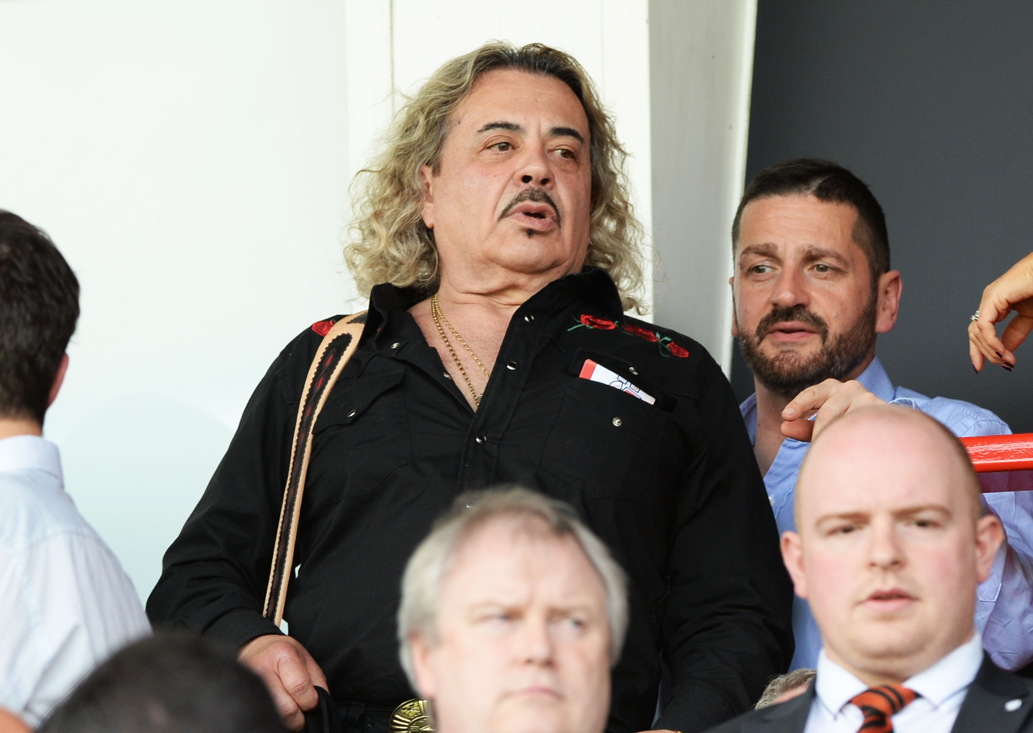 Former X-Factor contestant Wagner in the stands at a match between Hamilton and Dundee United.