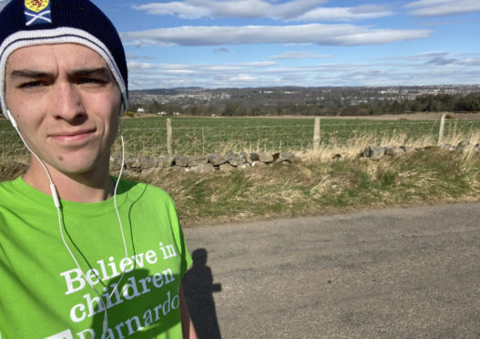 Jamie Rendall is running 10km a day for Barnardo's Scotland