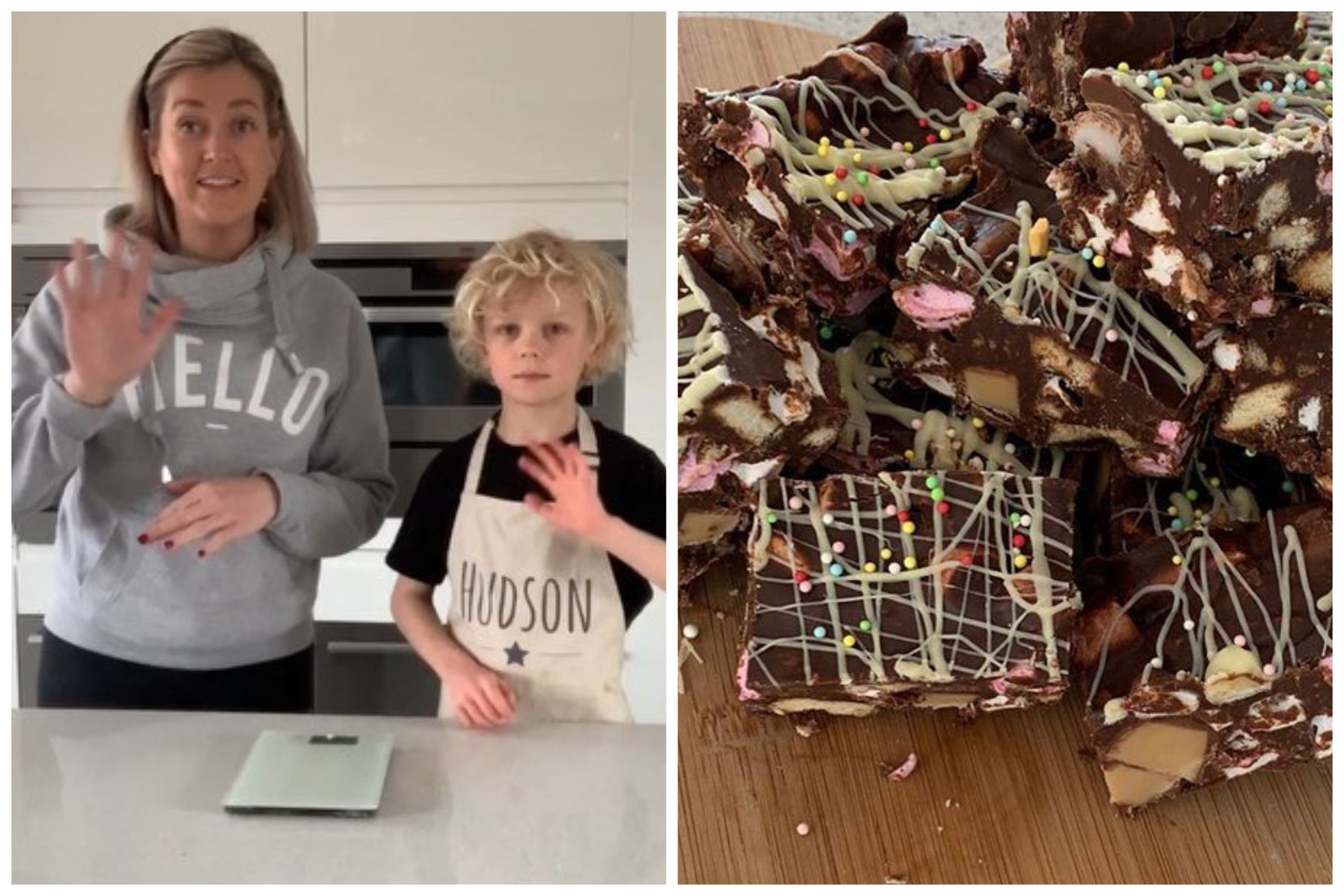 Vicky and Hudson with some of their rocky road bites