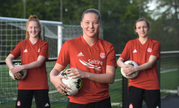 Francesca Ogilvie, pictured with team-mates Eilidh Shore, left, and Bayley Hutchison, has shared two drills to keep your skills sharp with limited space  and equipment during the coronavirus lockdown.