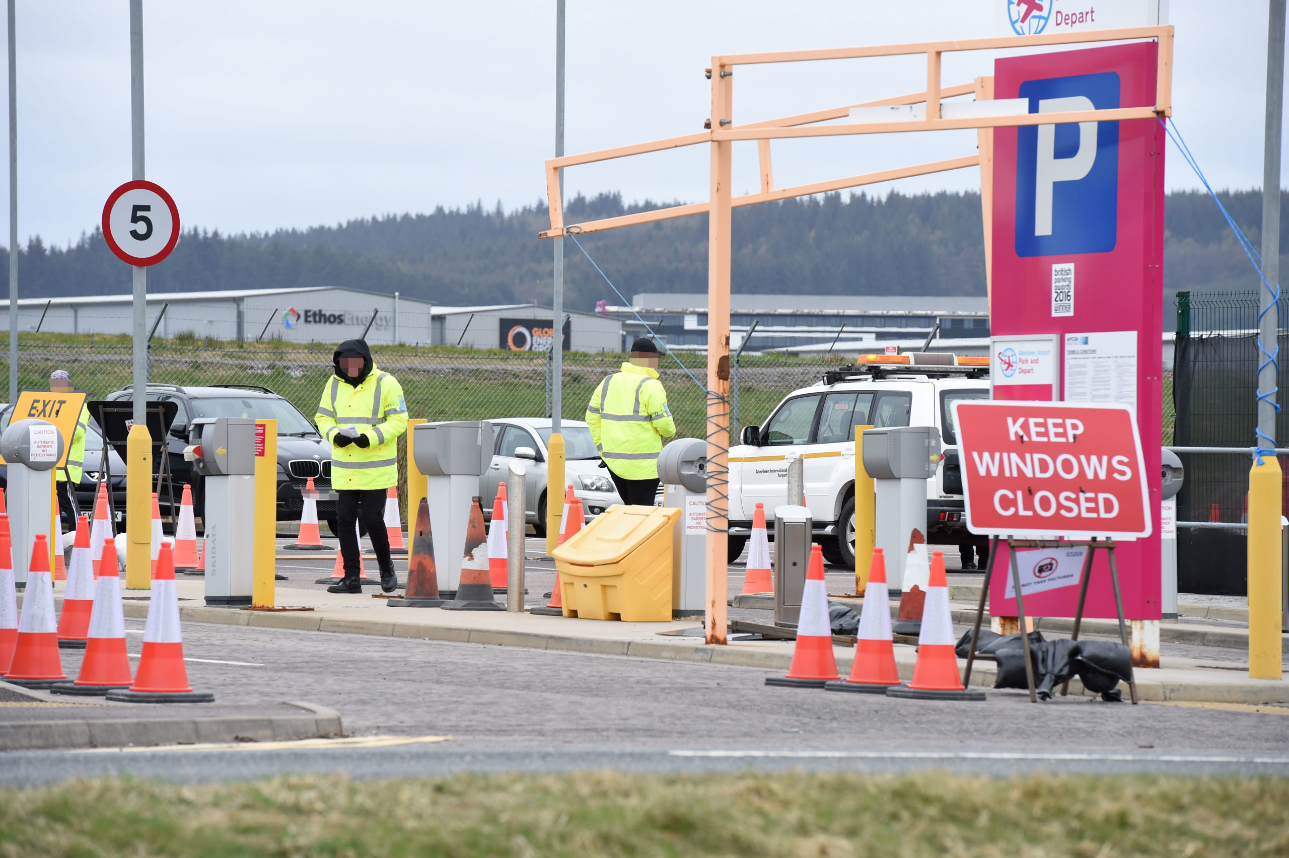 The drive-thru testing centre at Aberdeen airport