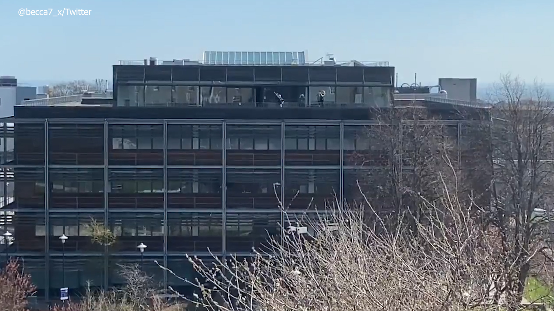 The piper on the roof of the Suttie Centre this morning