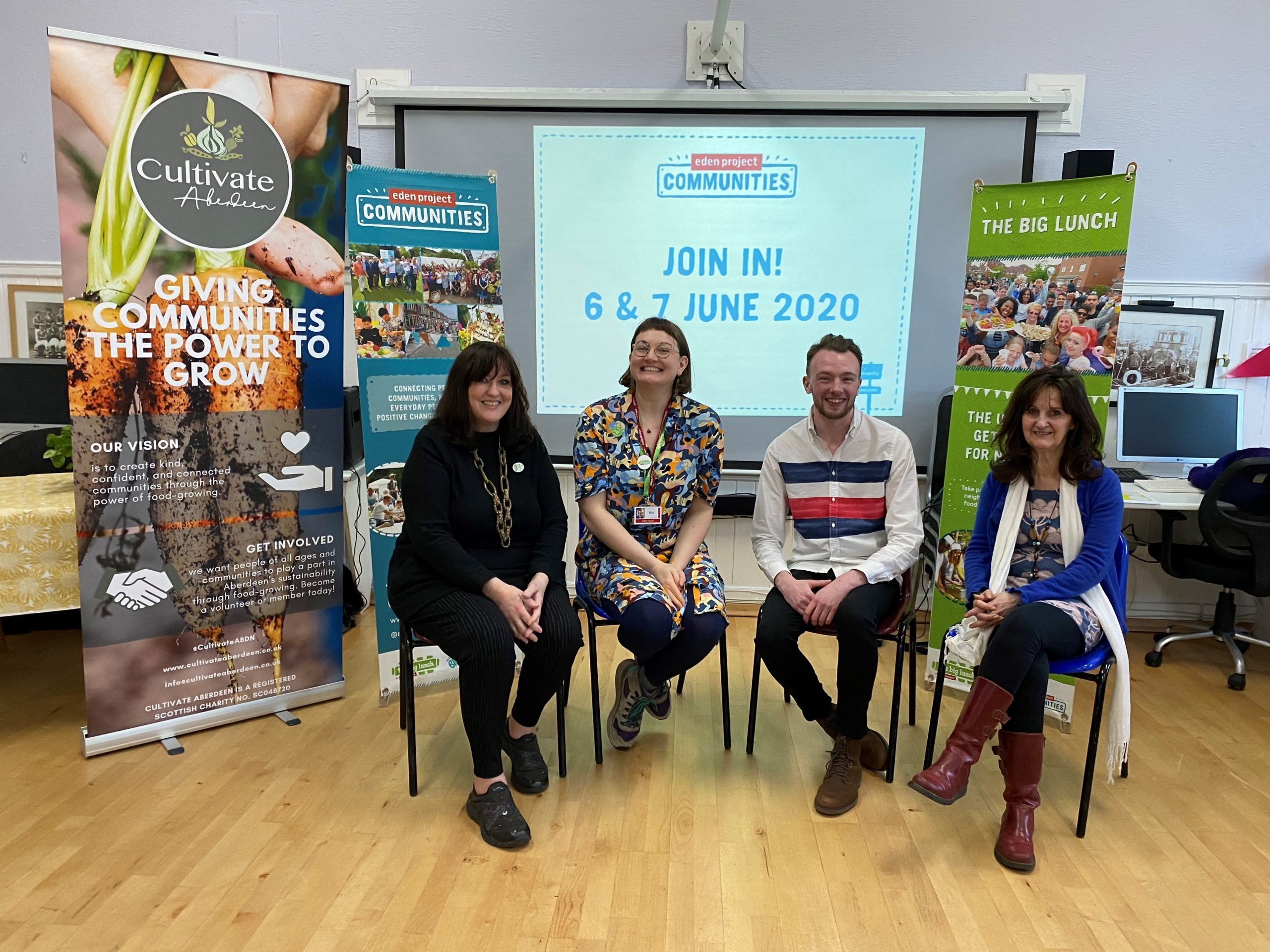 Lesley-Anne Mulholland, Mo Odling (from Eden Project Communities), George Bellamy, and Teresa Dufficy at the St Fitticks Big Lunch Launch