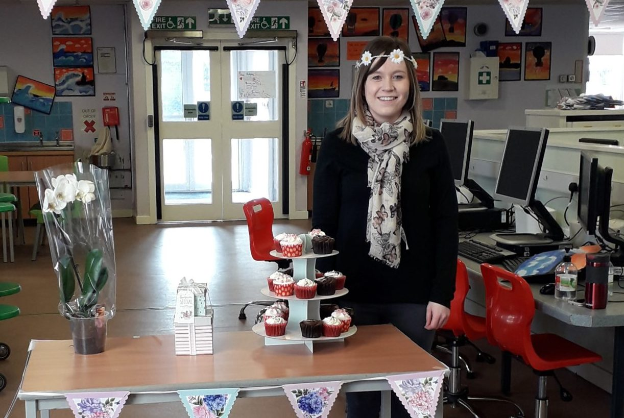 Teacher Emma Petrie celebrated with pupils today