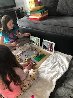 Darcy and Layla making their very own Lego Movie