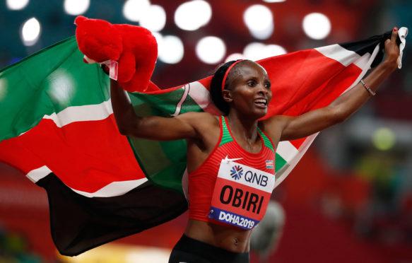 Hellen Obiri of Kenya celebrates after the women's 5000m Final at the  IAAF World Athletics Championships, Doha, Qatar, 2019.