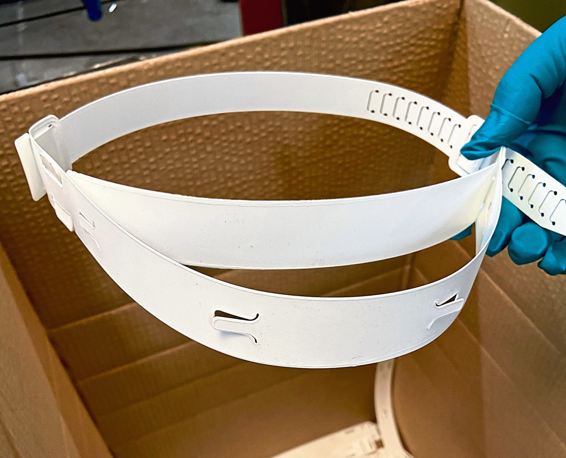 City-based commercial upholstery company Luxous Group Ltd are making 1,000 face visors a day