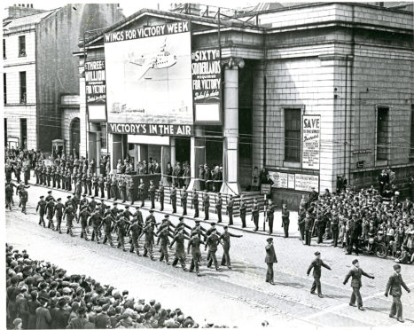 The Music Hall provided a grand backdrop to the Wings for Victory parade in 1943