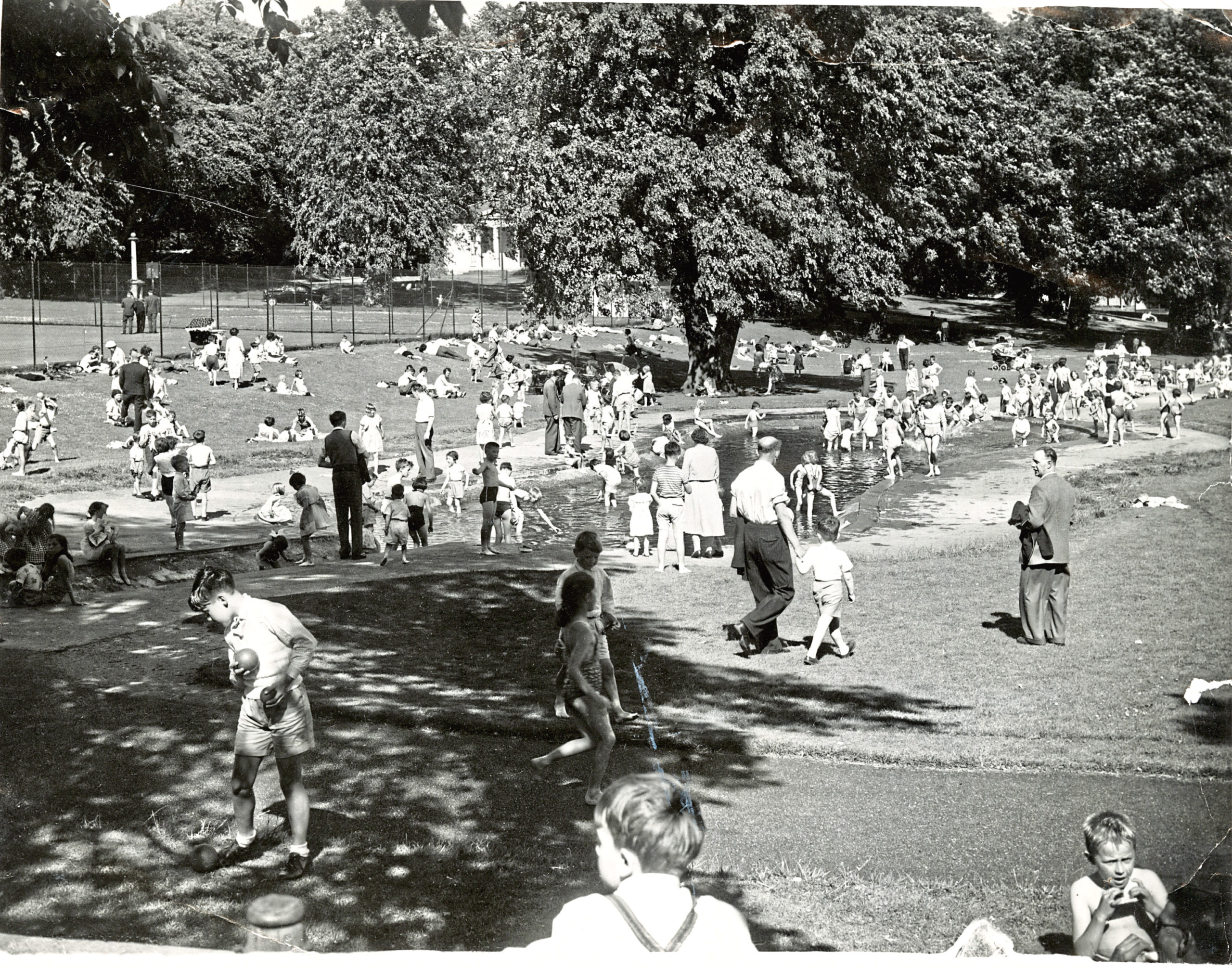 Westburn Park during the heatwave of 1959