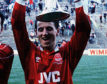 Paul Mason celebrates after beating Rangers in the 1989 League Cup final.
