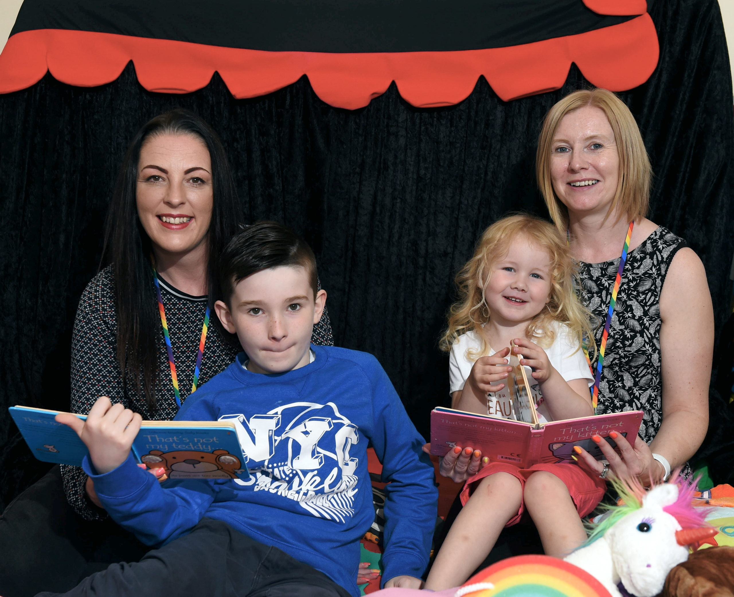 Some of the Rainbow Rogues team, from left, mum Kim and Tyler Stewart and Mollie Scofield and mum Jude