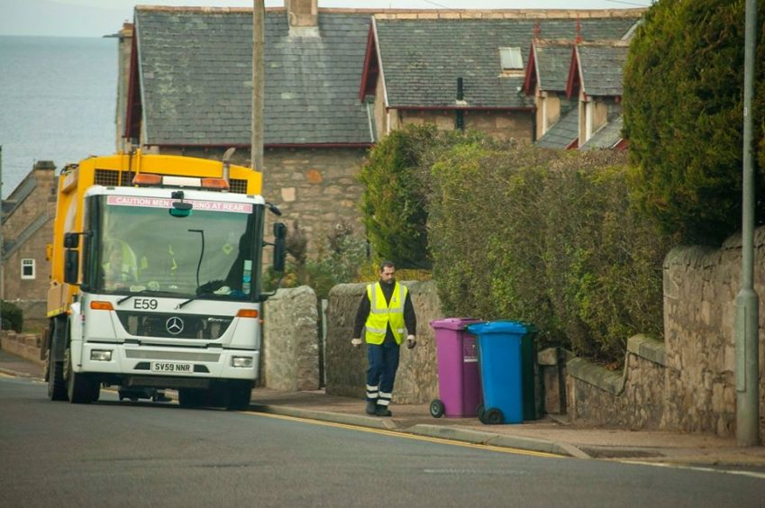Road maintenance crews are helping to sustain bin collection rotas in Moray