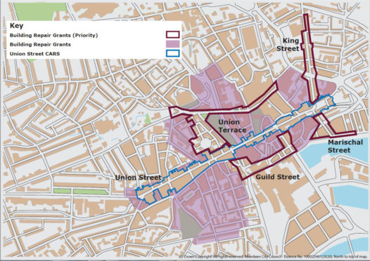 Areas in Aberdeen City Centre where the building repair grants are applicable.