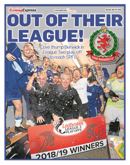 Page 1 of our Cove Rangers promotion supplement