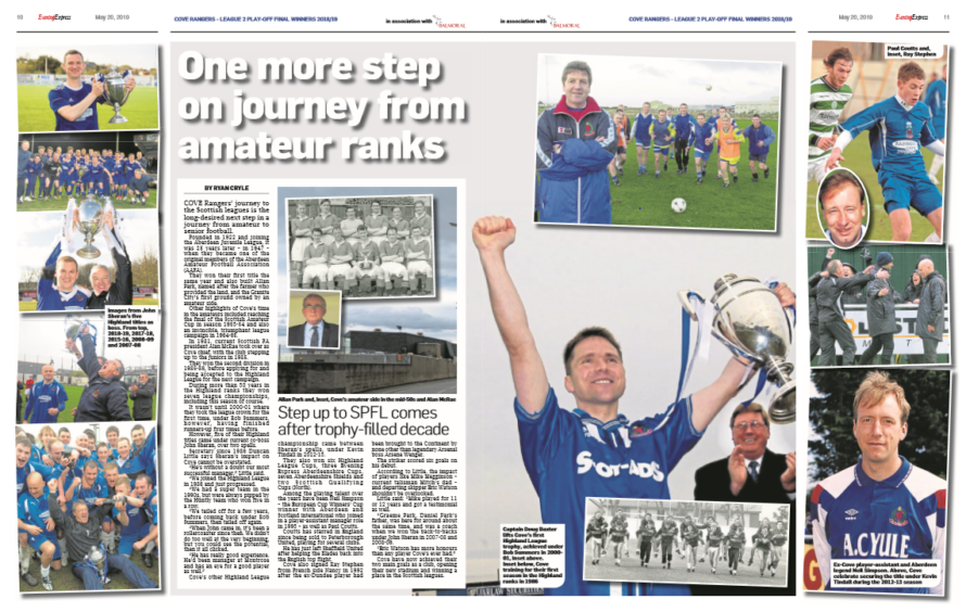 Pages 10 and 11 of our Cove Rangers promotion supplement
