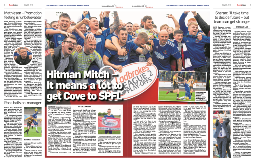 Pages 2 and 3 of our Cove Rangers promotion supplement