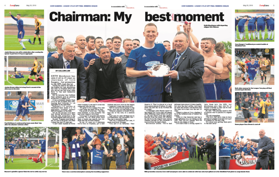 Pages 4 and 5 of our Cove Rangers promotion supplement