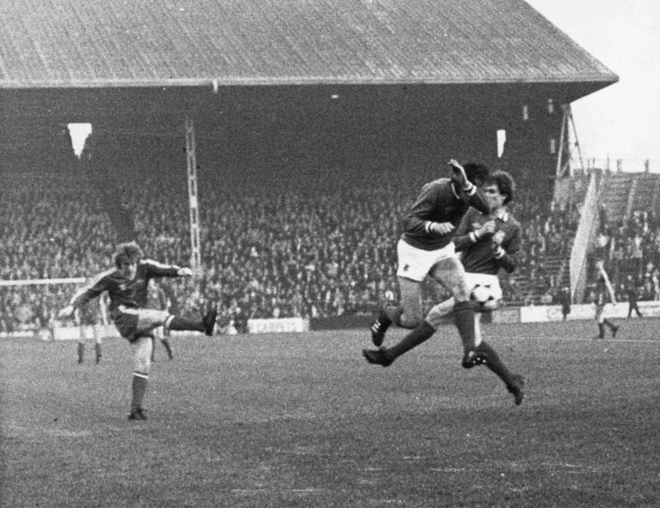 Gordon Strachan fires the Dons into an early lead with this rocket shot in the Dons game against Rangers at Pittodrie.