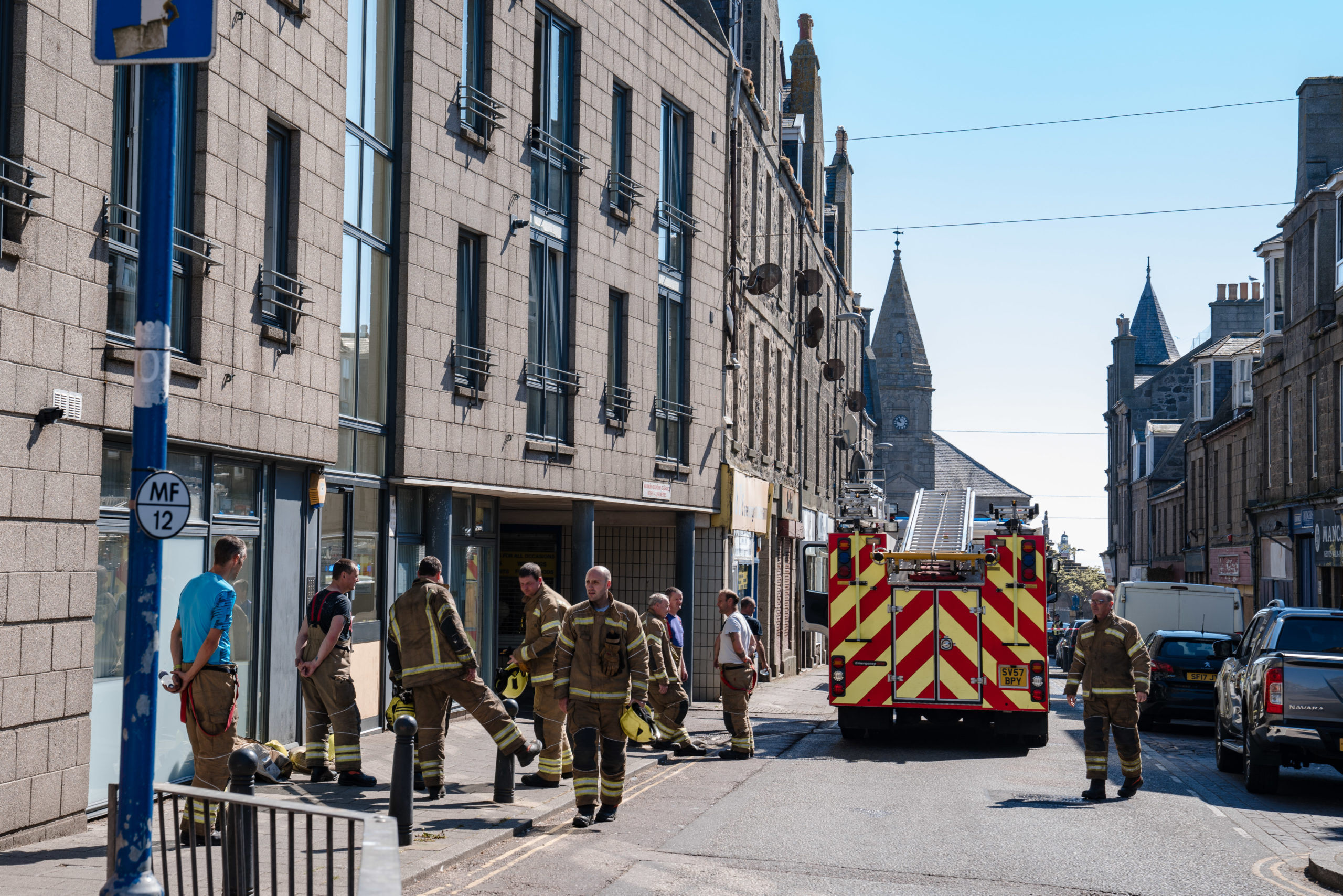 Fire crews were called to the scene shortly before 9am