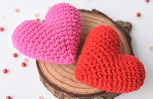 Some of the knitted hearts that have been created