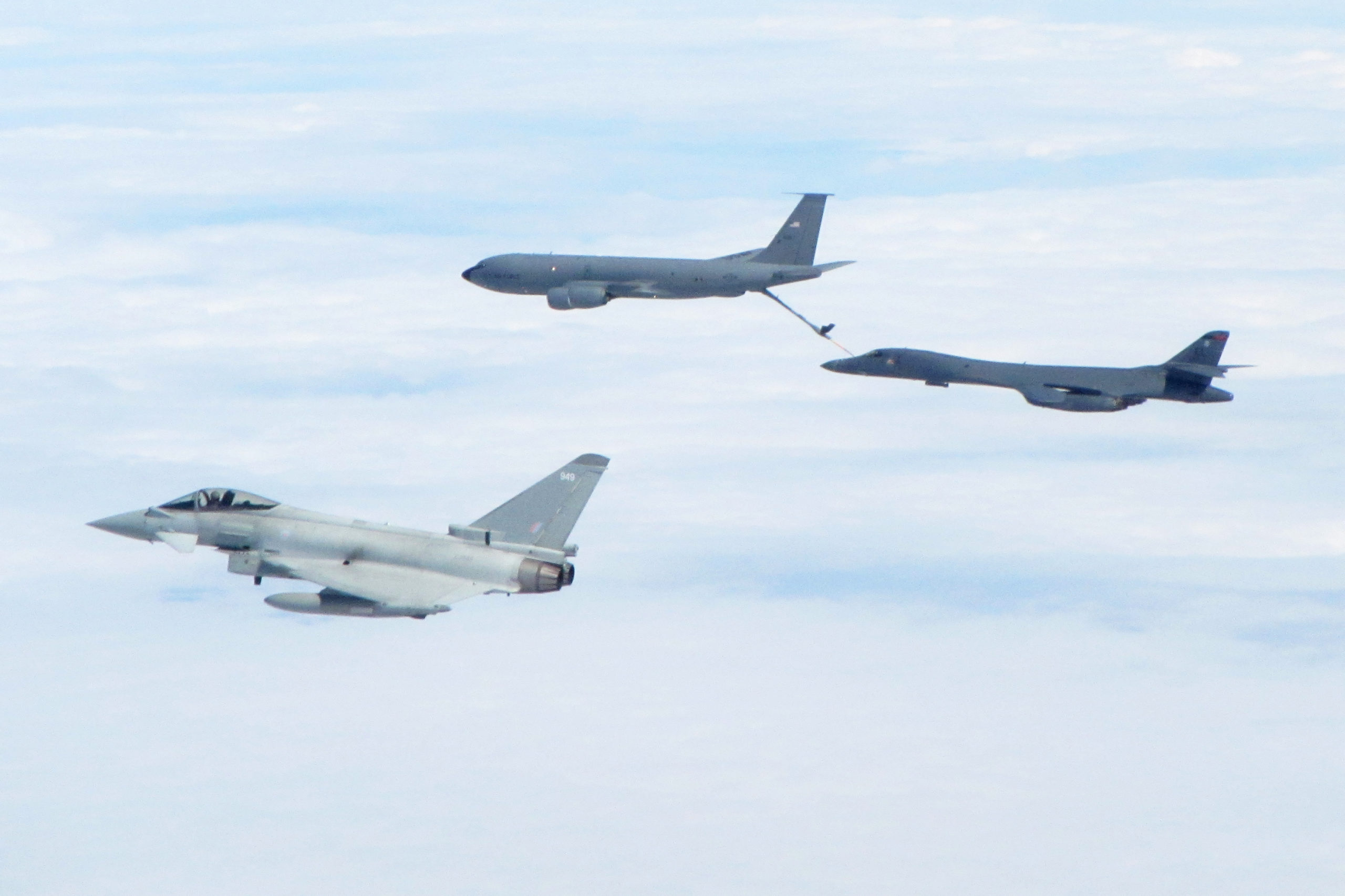 1 (F) Squadron Typhoons, based at RAF Lossiemouth, escorted a B-1B Lancer Bomber as it heads towards Denmark and Poland.