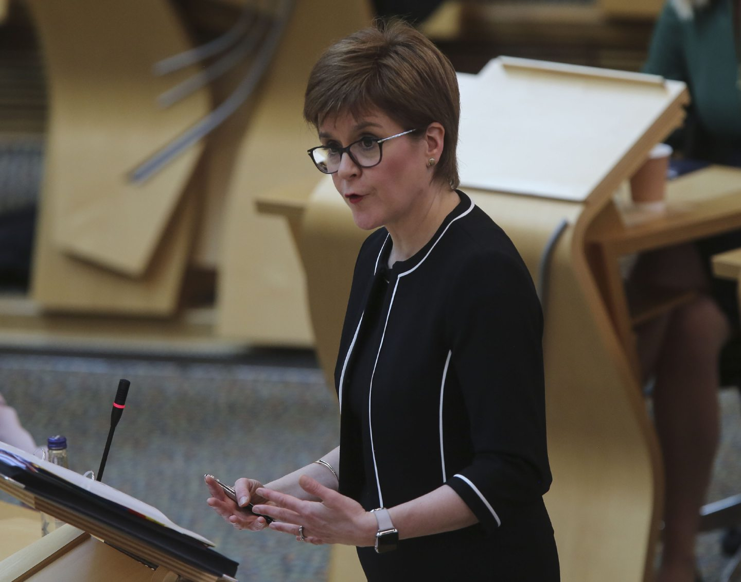 First Minister Nicola Sturgeon during First Minister's Questions held at the Scottish Parliament, Holyrood, Edinburgh. PA Photo. Picture date: Wednesday May 20, 2020. See PA story HEALTH CoronavirusScotland. Photo credit should read: Fraser Bremner/Scottish Daily Mail/PA Wire
