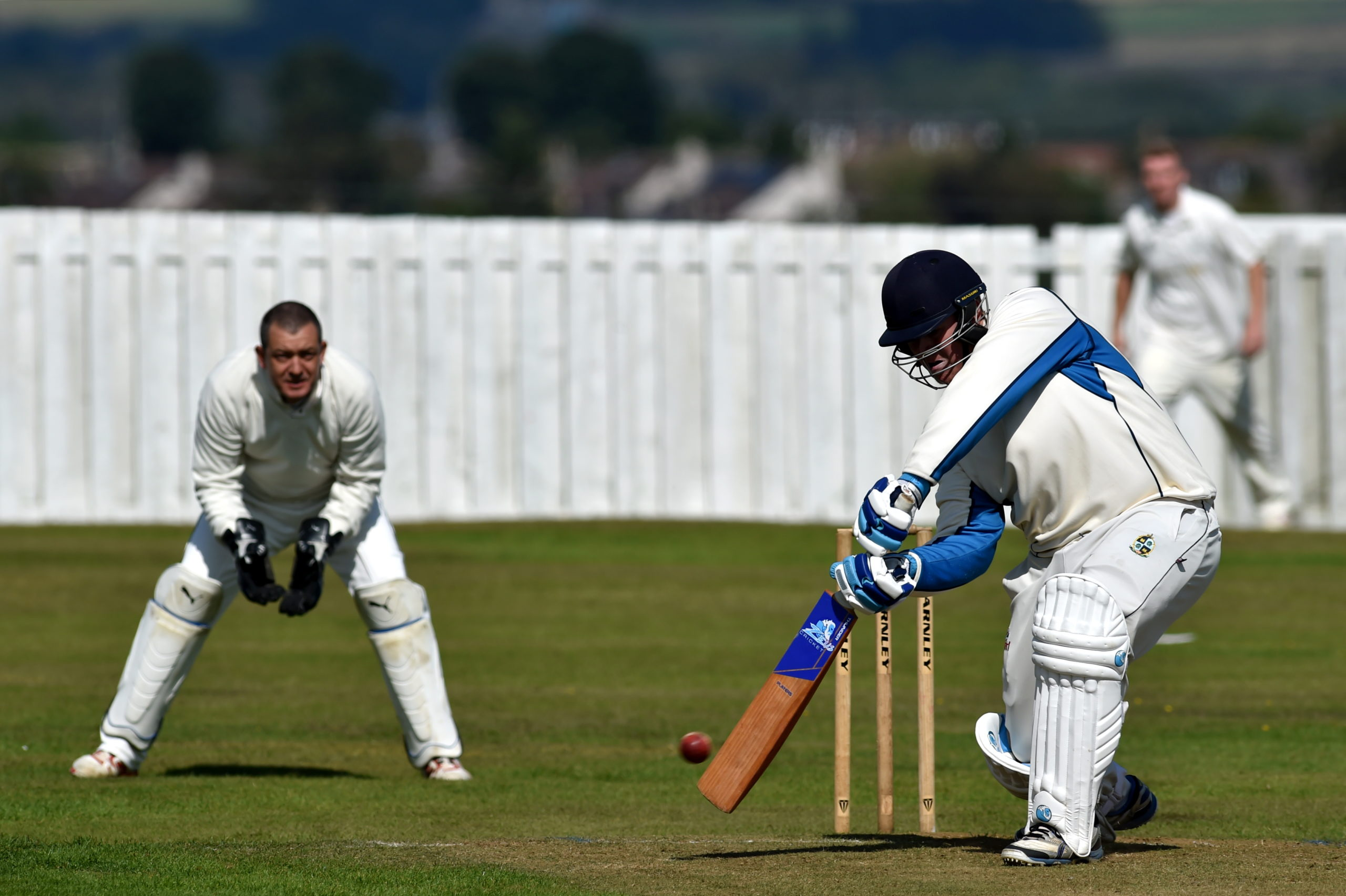 Stoneywood-Dyce CC v Strathmore CC at People's Park, Wellheads Drive, Aberdeen. Picture of Stoneywood-Dyce batsman Jack Mitchell. Picture by Kenny Elrick.