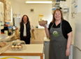 CR0021496  Pictured - Michelle Clark (front) and Jill Thomson at the Kemnay Farm Shop.  Picture by Scott Baxter    23/05/2020