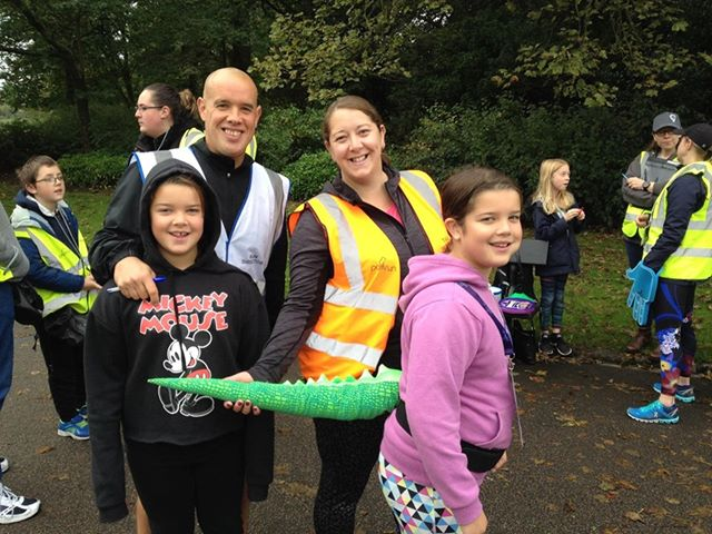 The Greig family at a parkrun event.