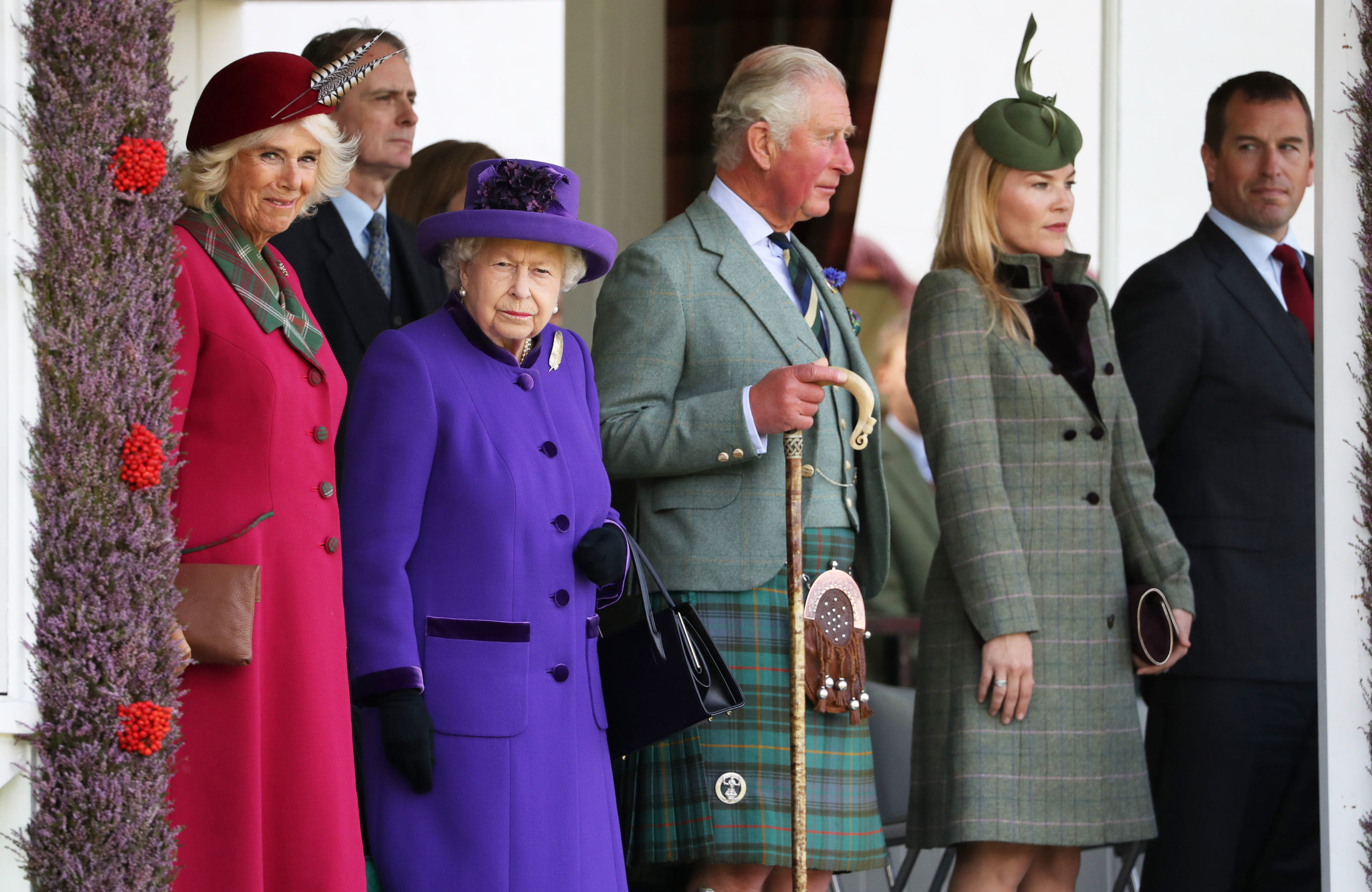 Queen Elizabeth II, the Prince of Wales and the Duchess of Cornwall during the Braemar Royal Highland Gathering at the Princess Royal and Duke of Fife Memorial Park, Braemar