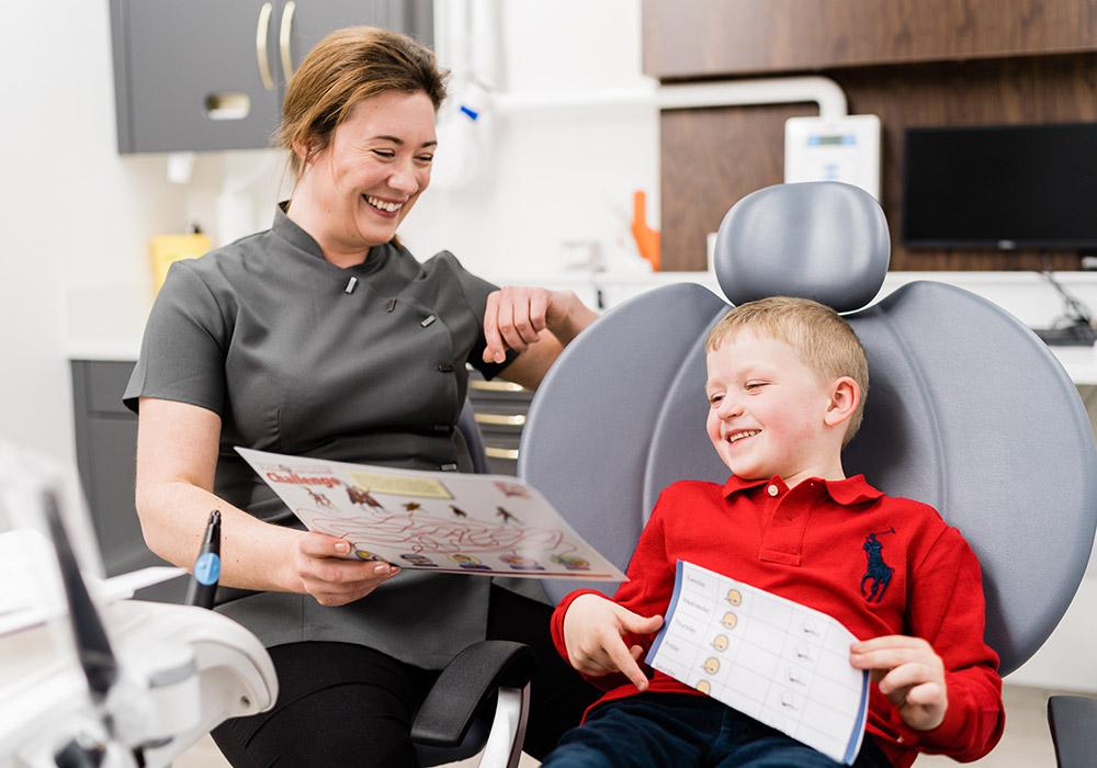 Rachel Jackson with patient Cameron Scott