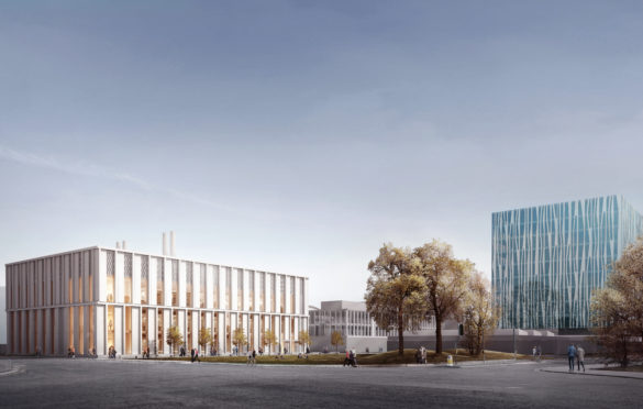 An artist's impression of the planned £35m Science Teaching Hub at Aberdeen University, which is currently under construction