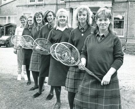 Albyn U16 tennis team, with teacher Sheila McNaught, are Pamela Ewen, Ann MacNaughtan, Fiona Connor, Claire Symington, Louise Wadsworth and Lynn Still