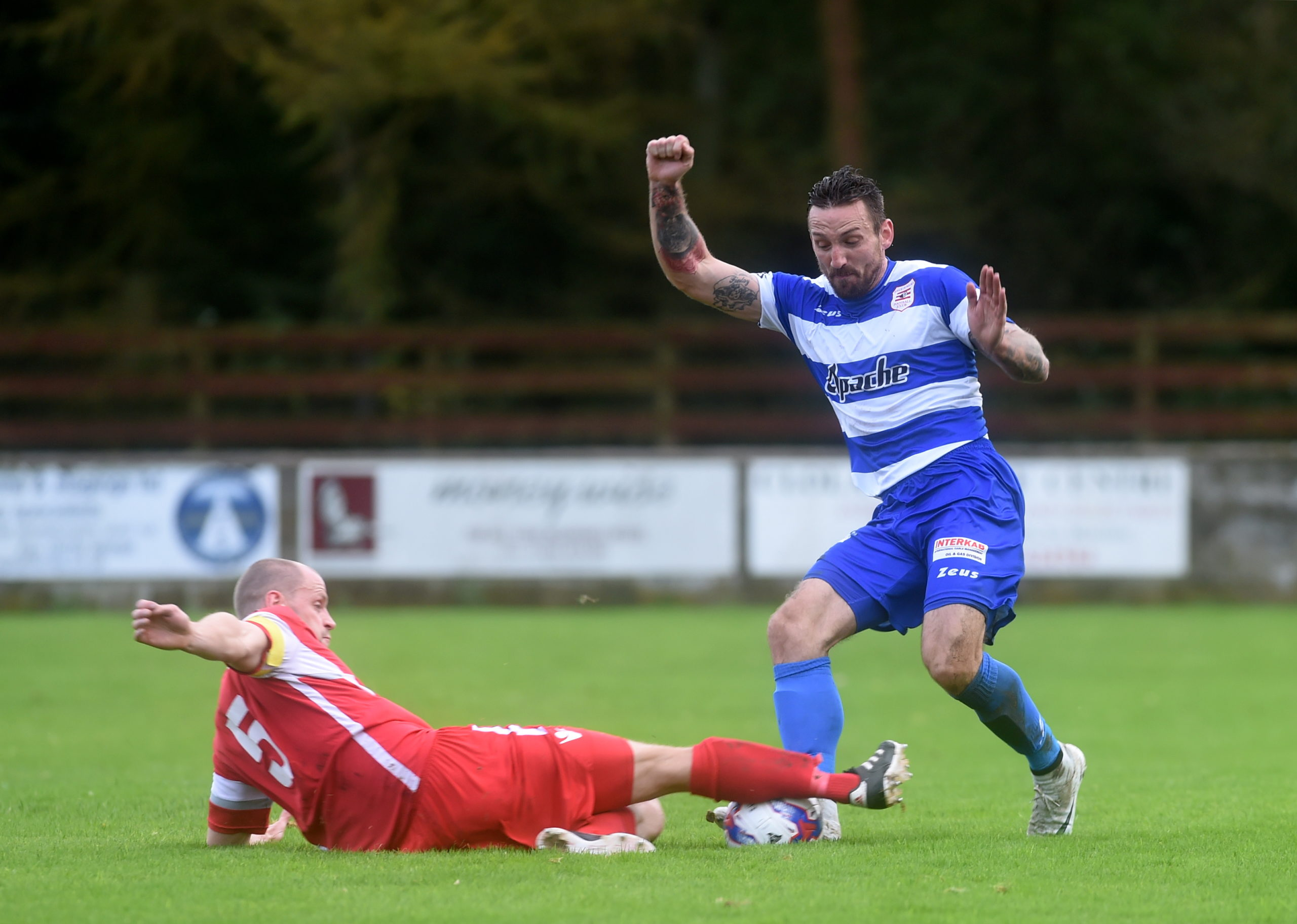 Jamie McAllister, right, in action for Dyce during his spell there. Picture by Darrell Benns