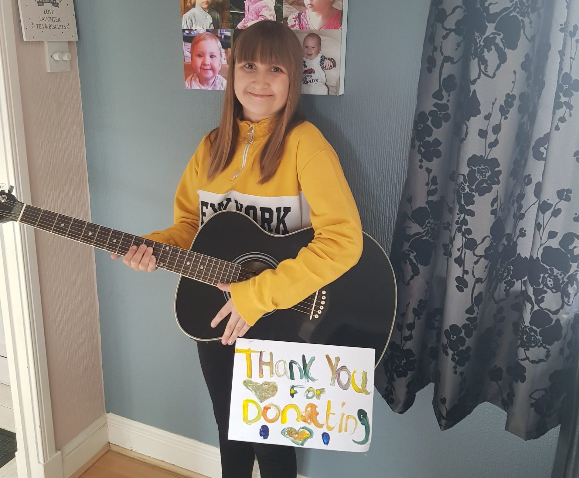 Hayley Fraser is strumming her guitar in aid of NHS frontline workers