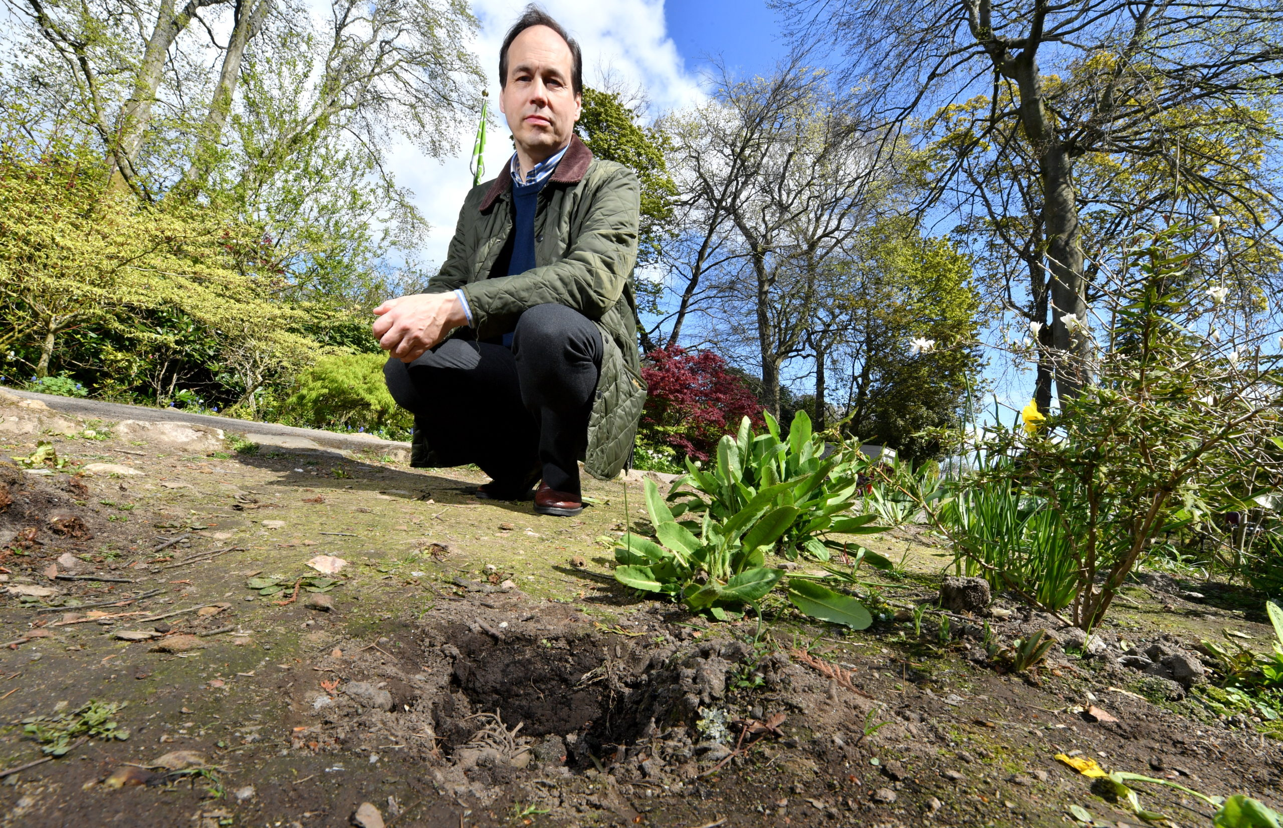 Martin Greig has hit out over the theft of plants from Johnston Gardens.