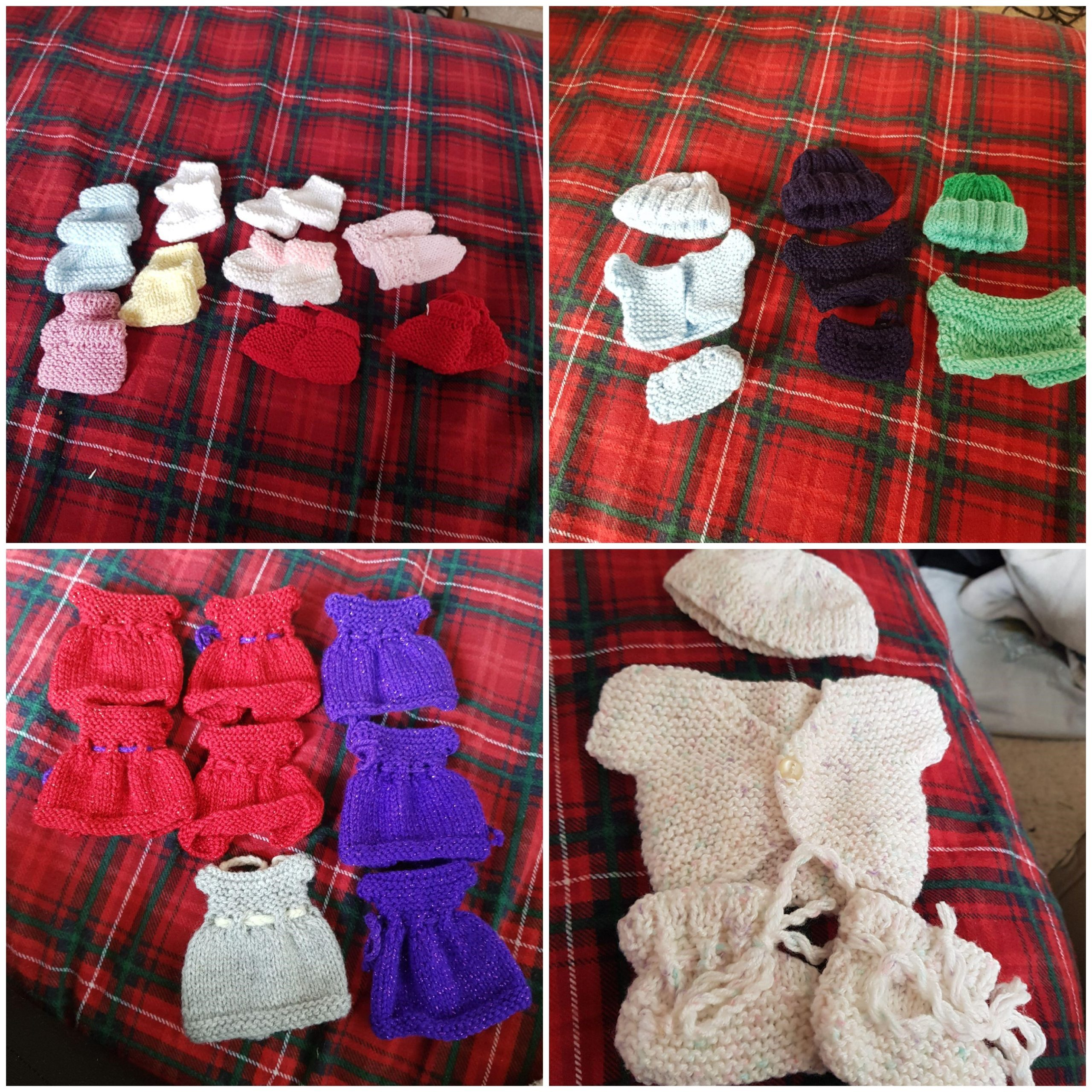 Some of the outfits knitted by Wendy McKinlay
