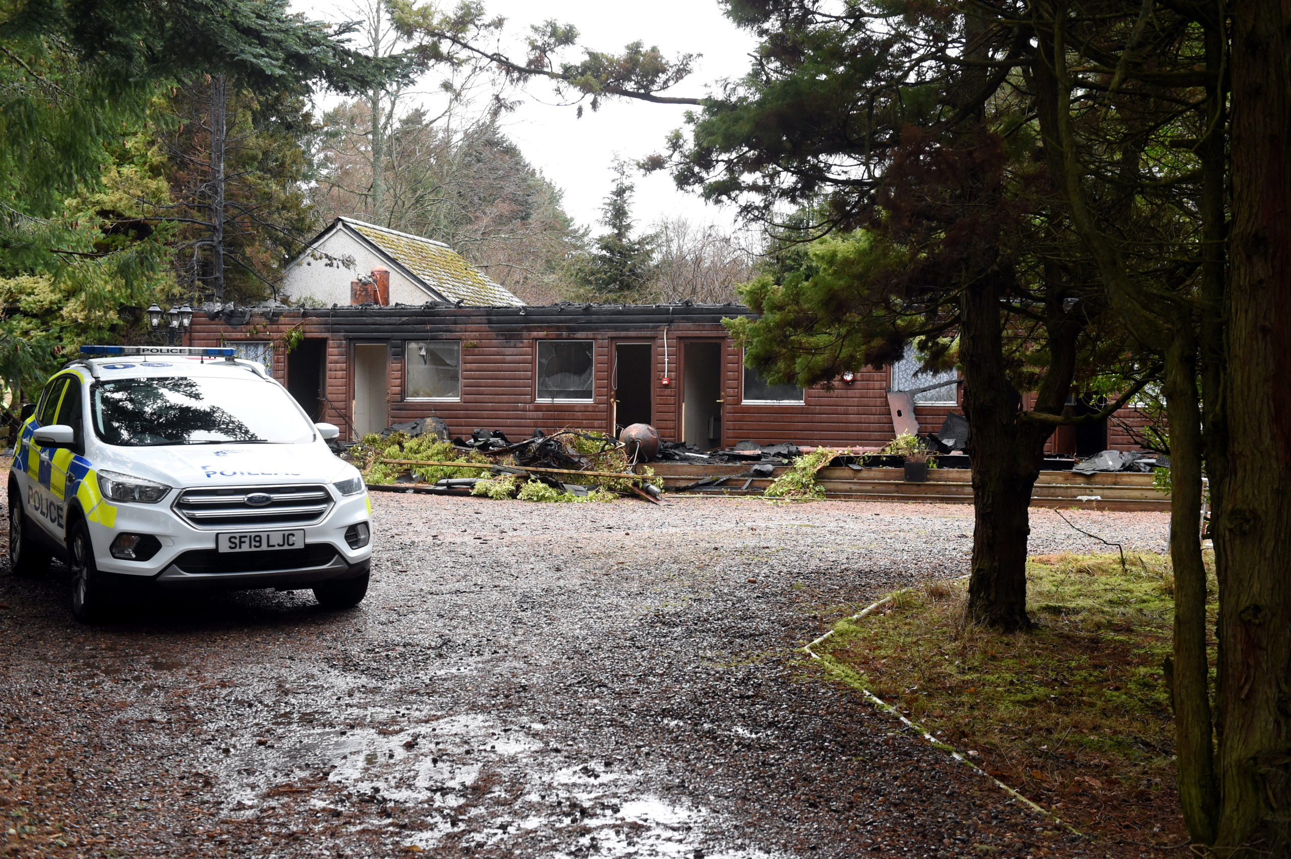 The scene of the fire at the Glen Lui hotel in Ballater