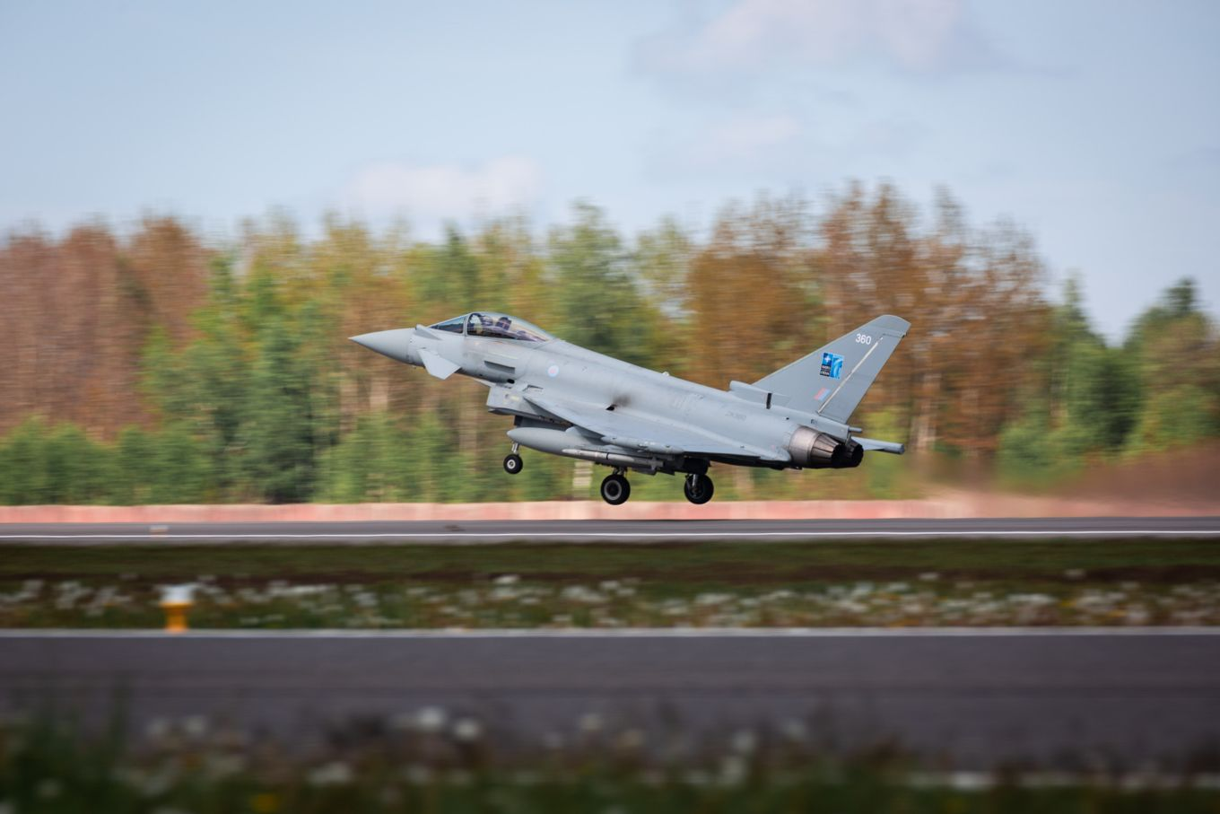 RAF Typhoons were scrambled to defend the skies yesterday