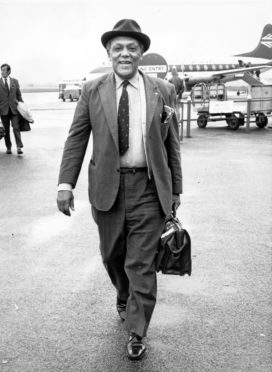 Former Aberdeenshire cricket professional Alma Hunt pictured on his arrival at Aberdeen Airport on 1 August 1973.