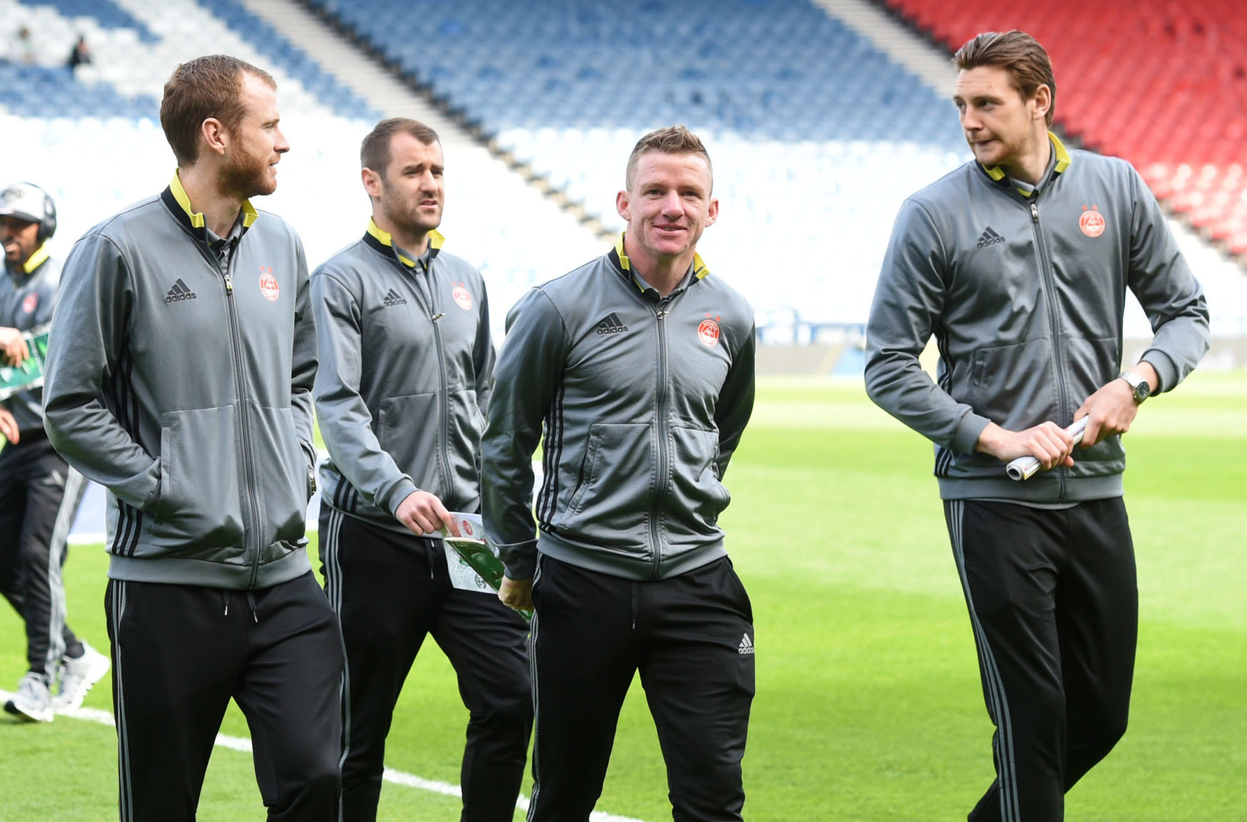 Ash Taylor, right, walks next to Jonny Hayes before the 2017 Scottish Cup final.