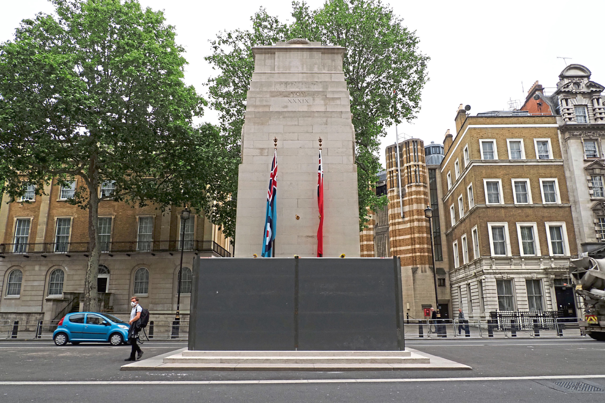 Cenotaph boarded over in Whitehall