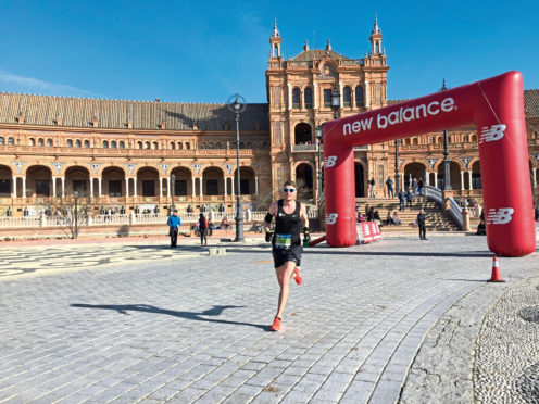 Robert Hudson, originally from Stonehaven, competing in the 2019 Seville Marathon.