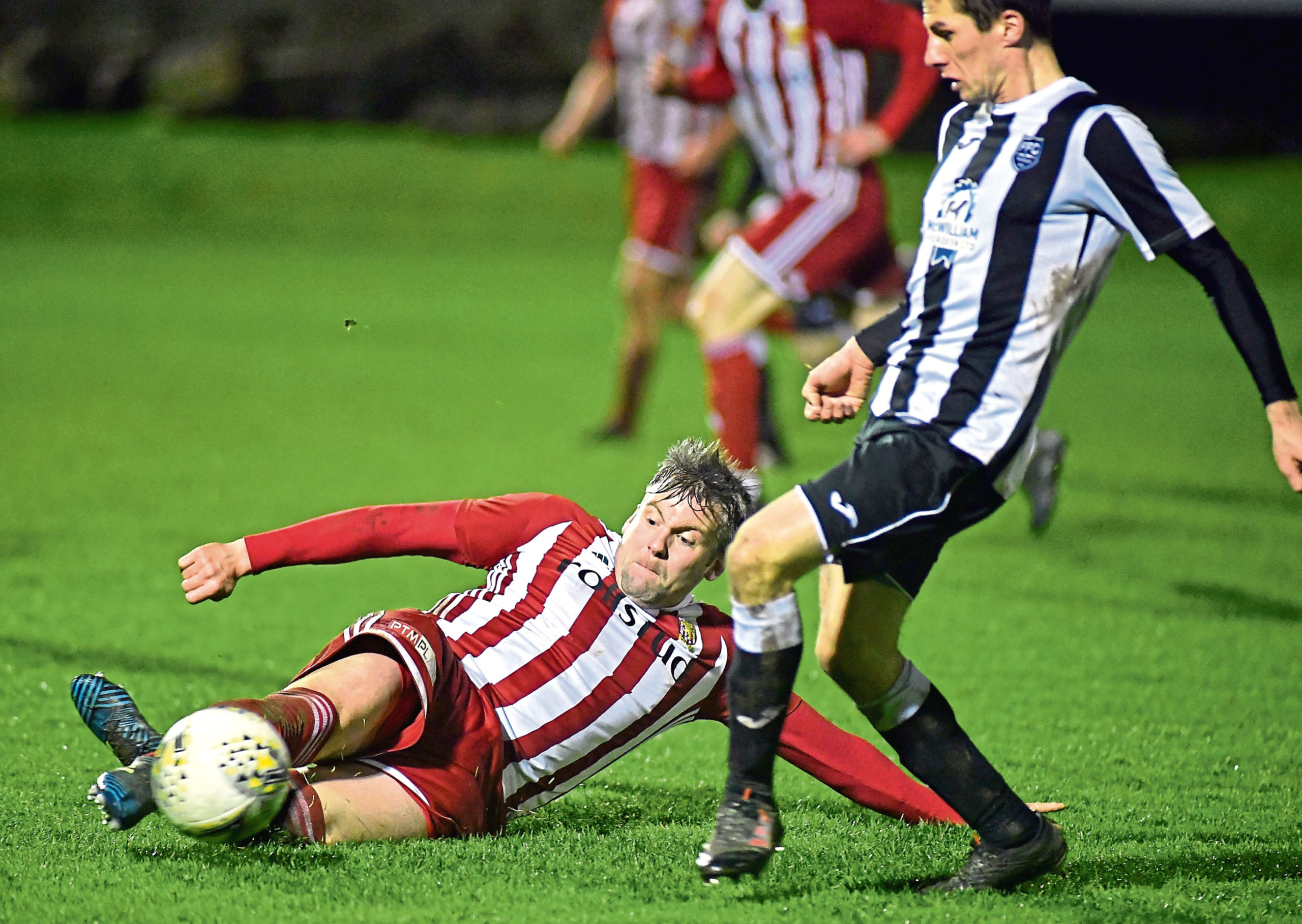 Craig McKeown, left, in action for Formartine United Pic by Chris Sumner