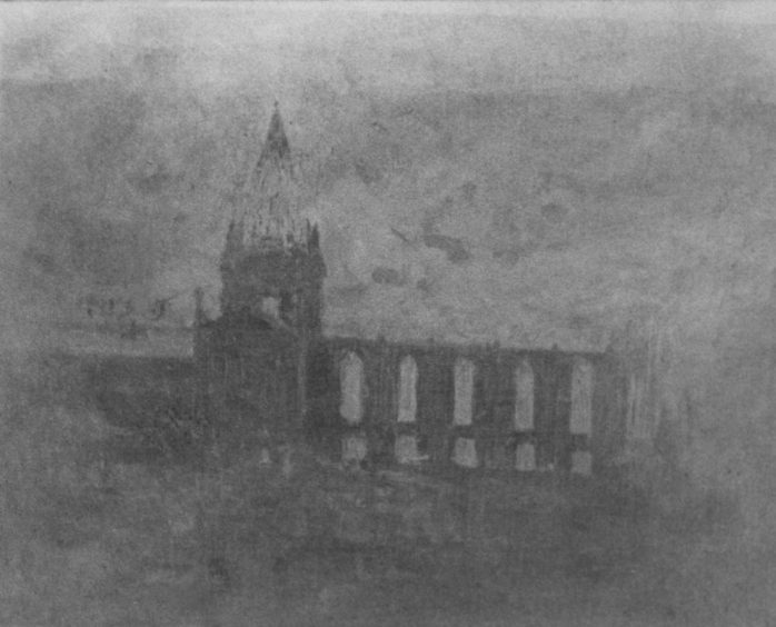A rare photograph of the great fire of 1874 at the MIther Kirk, just before the oak steeple crashed onto the ruins of the East Kirk.