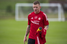 New Aberdeen signing Jonny Hayes training with the Dons.