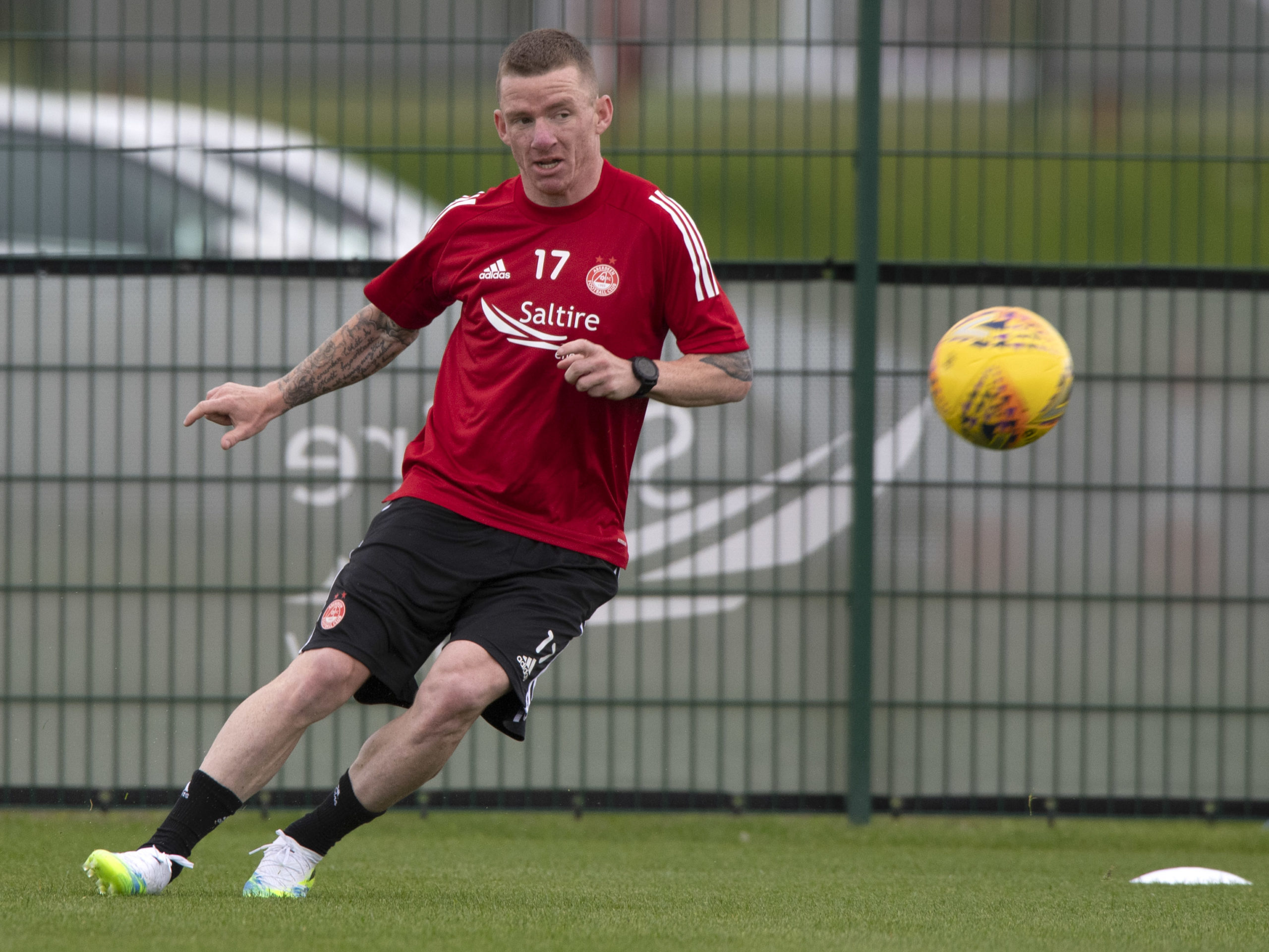 Jonny Hayes in action during training at Cormack Park.