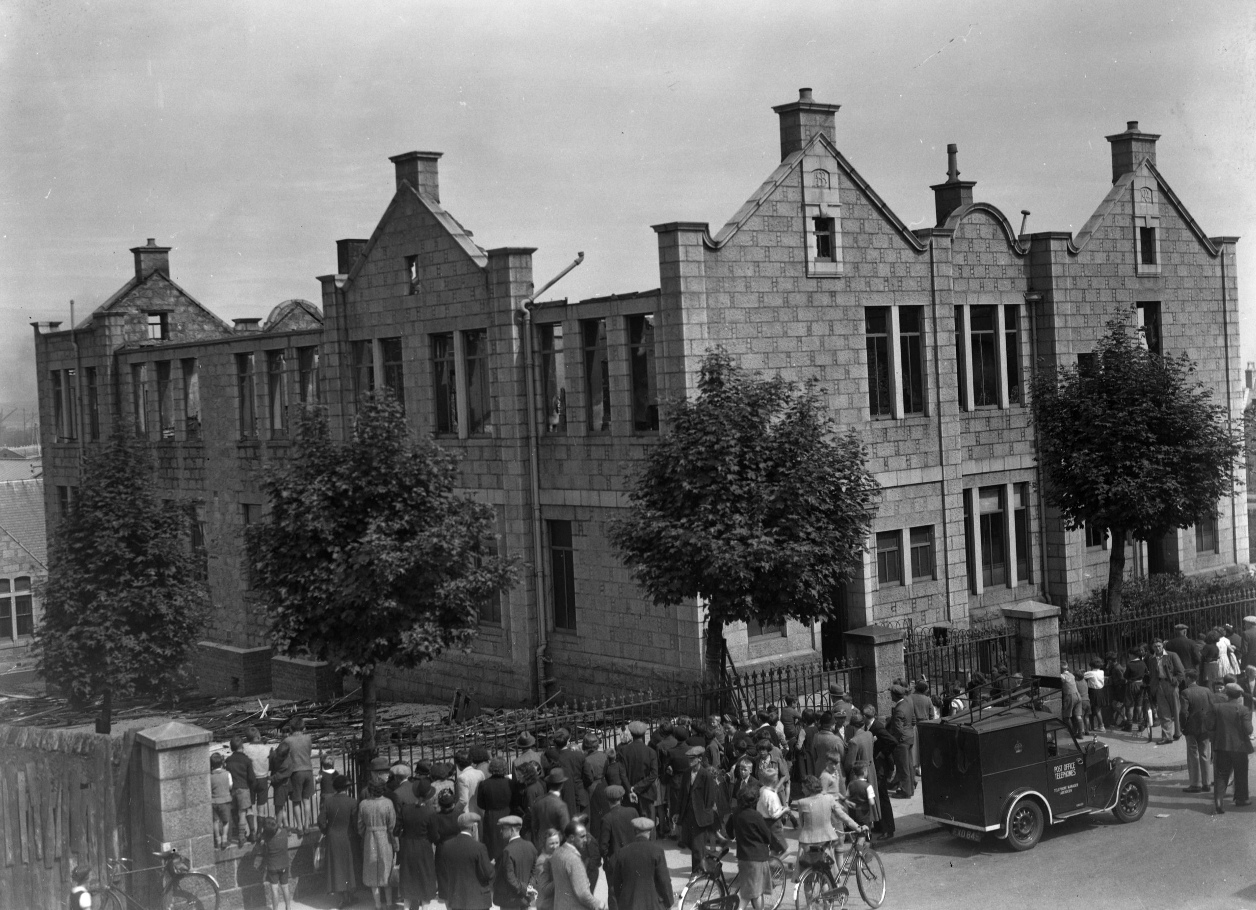 The bomb-damaged Victoria Road School, pictured in 1940.